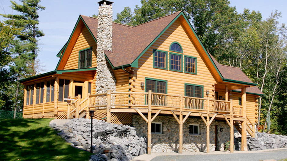 Custom log panelized homes the original lincoln logs for Panelized cabins
