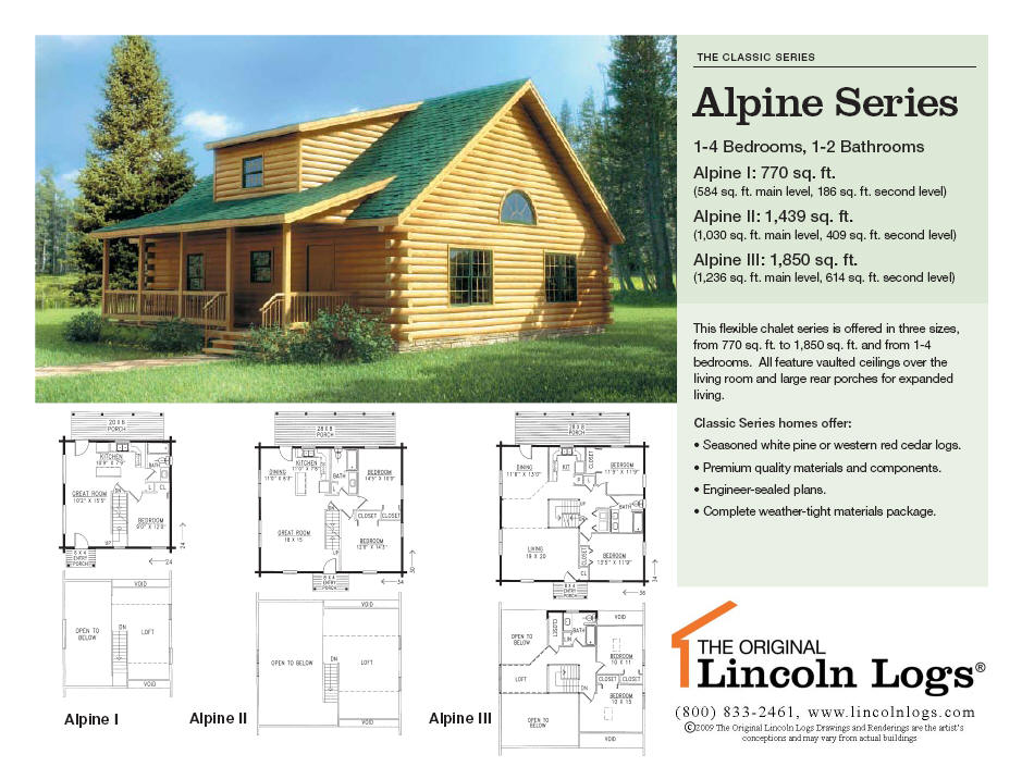 Log Home Floorplan Alpine The Original Lincoln Logs