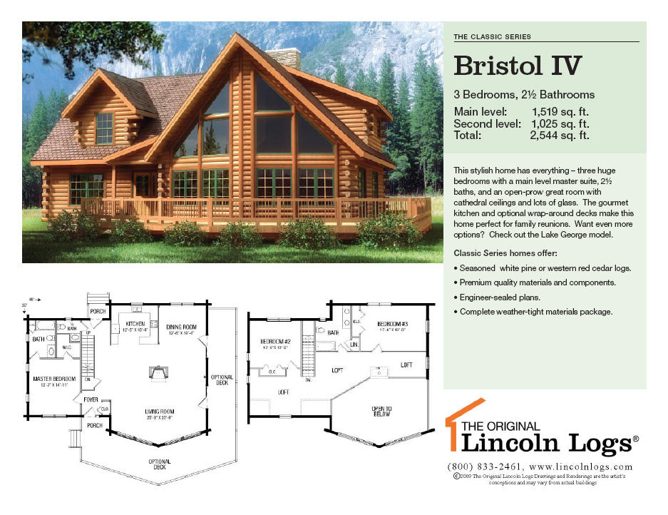 Log Home Floorplan Bristol IV The Original Lincoln Logs