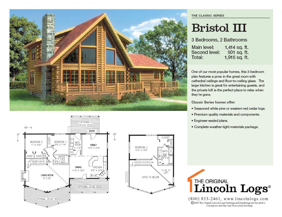 Log Home Floorplan: Bristol III