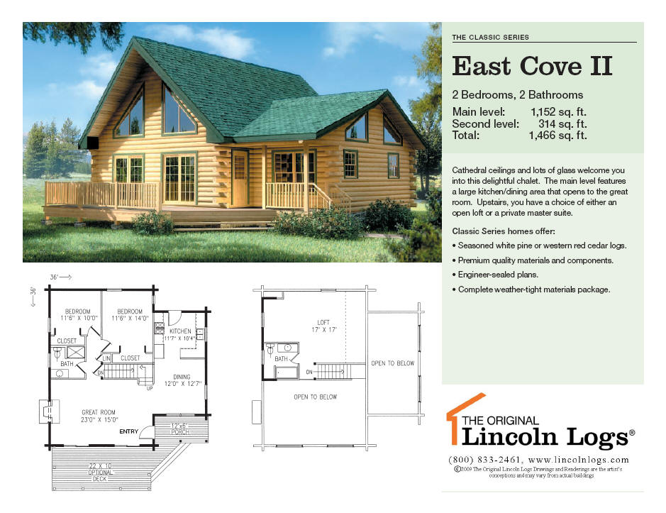 Log Home Floorplan: East Cove II