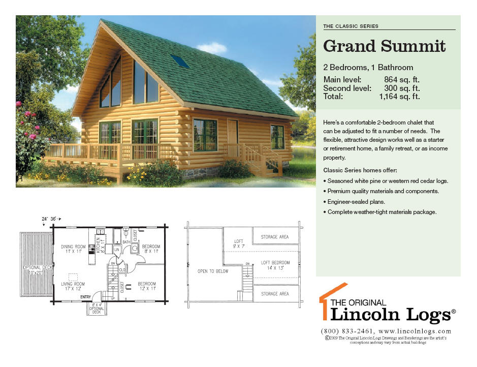 Log Home Floorplan Grand Summit The Original Lincoln Logs