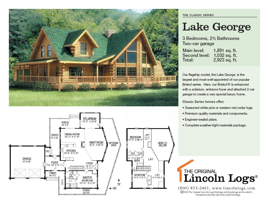 Log Home Floorplan: Lake George