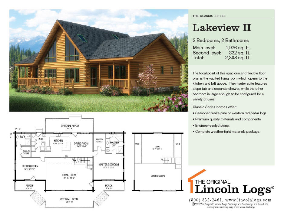 Log Home Floorplan: Lakeview II