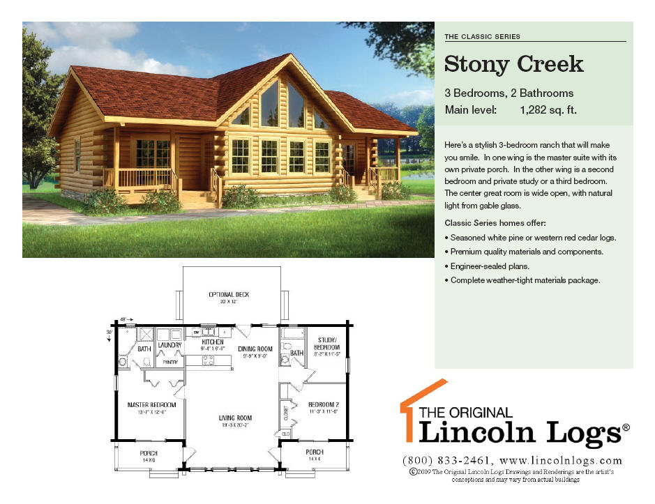 Log Home Floorplan: Stony Creek