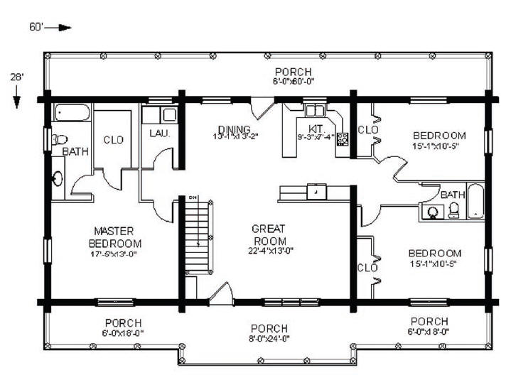 Log Home Floorplan: Swan Valley