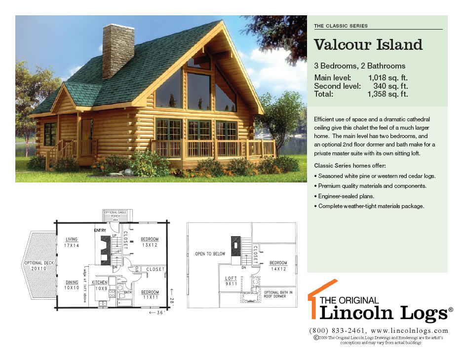 Log Home Floorplan: Valcour Island