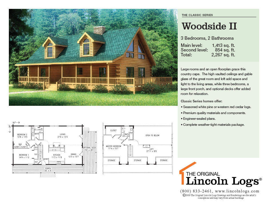 Log Home Floorplan: Woodside II
